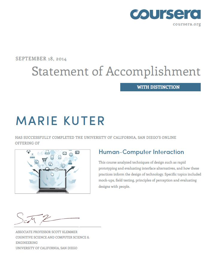 Human Computer Interaction Certification Marie Kuter