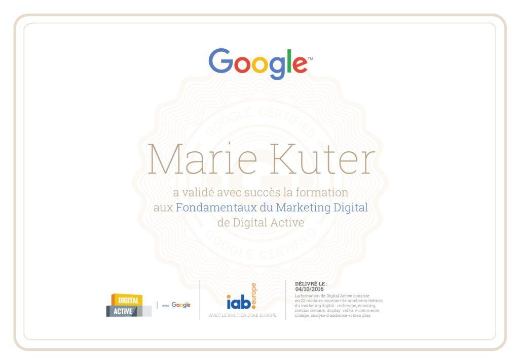 Google Digital Active certification - Marie Kuter