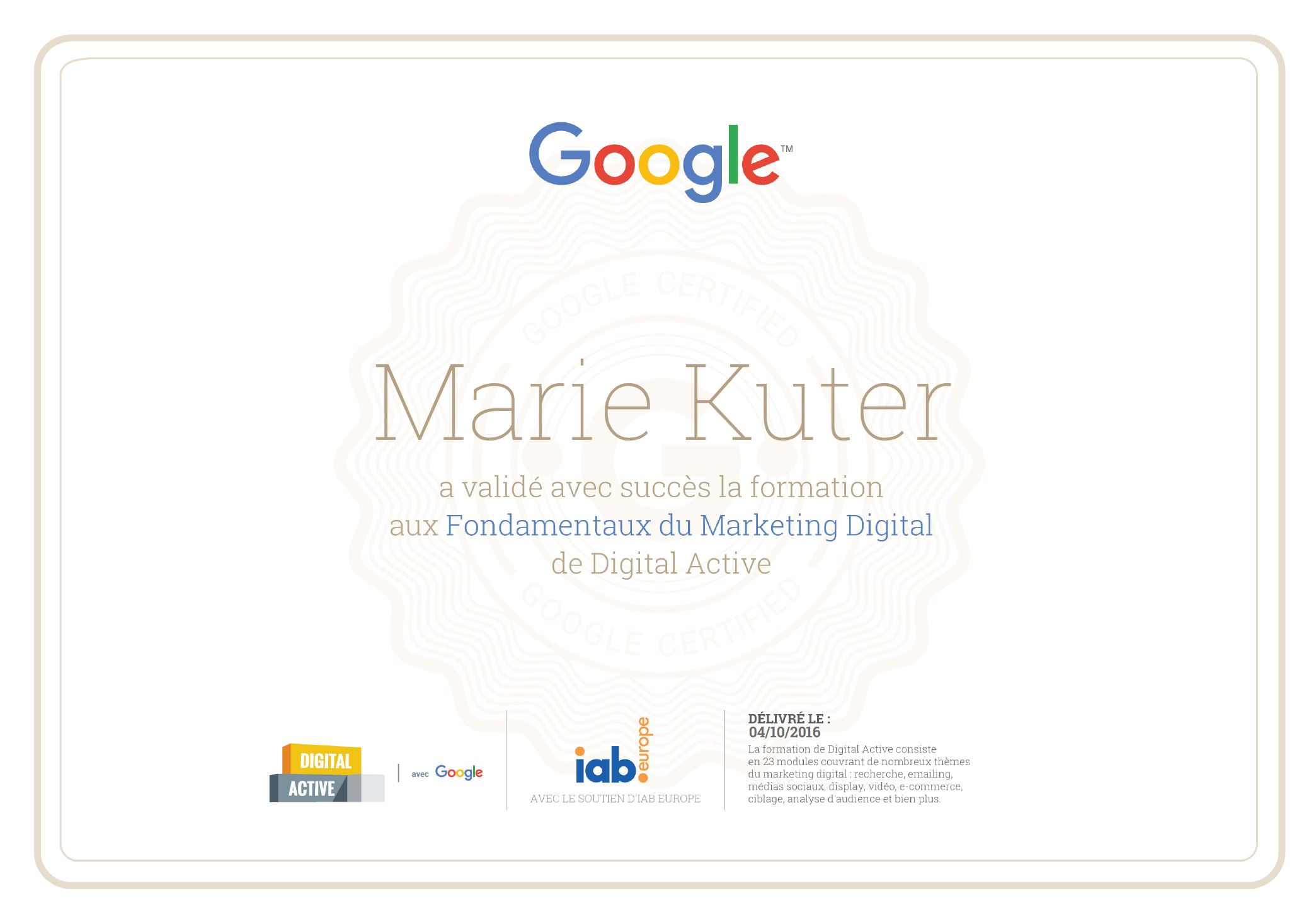 Google Digital Active certification - Marie Kuter