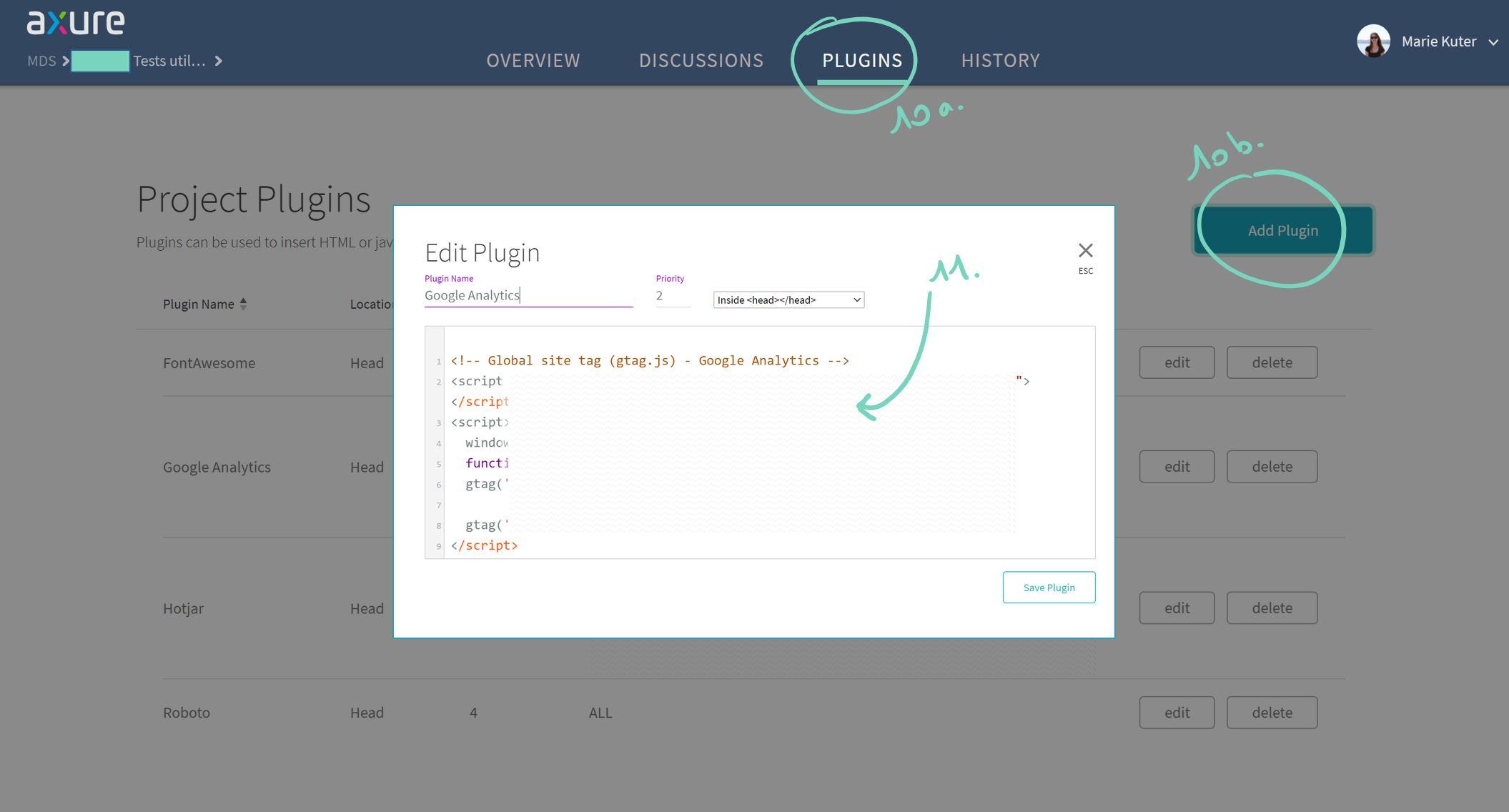 Axure Cloud Google Analytics plugin